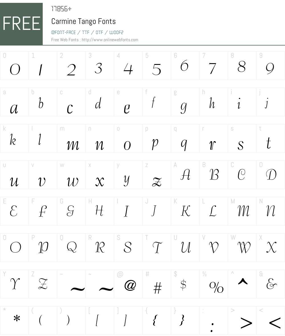 Carmine Tango Font Screenshots