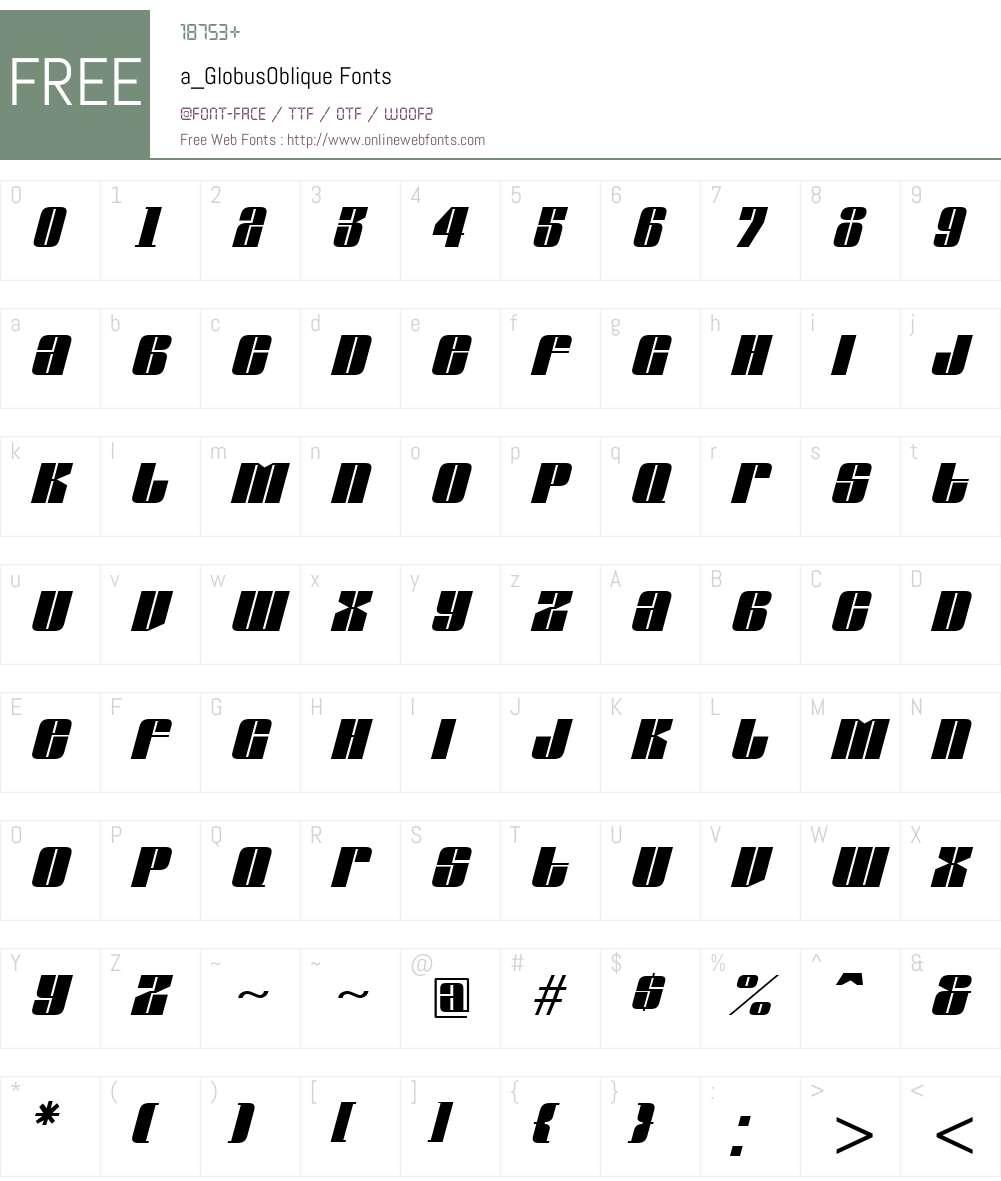 a_GlobusOblique Font Screenshots