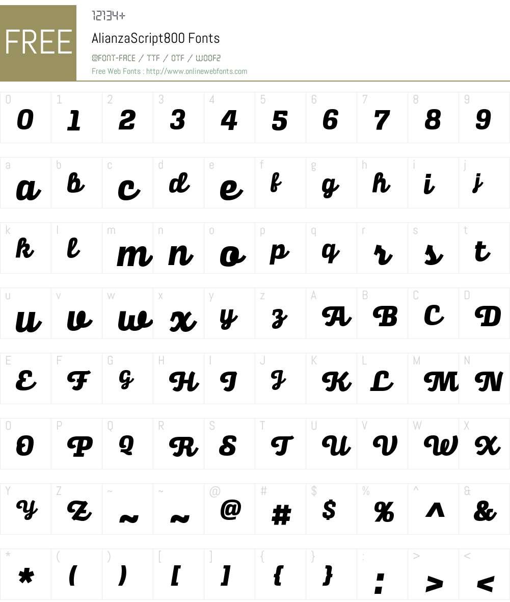Alianza Script 800 Font Screenshots
