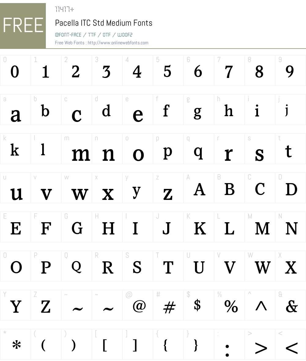 Pacella ITC Std Font Screenshots