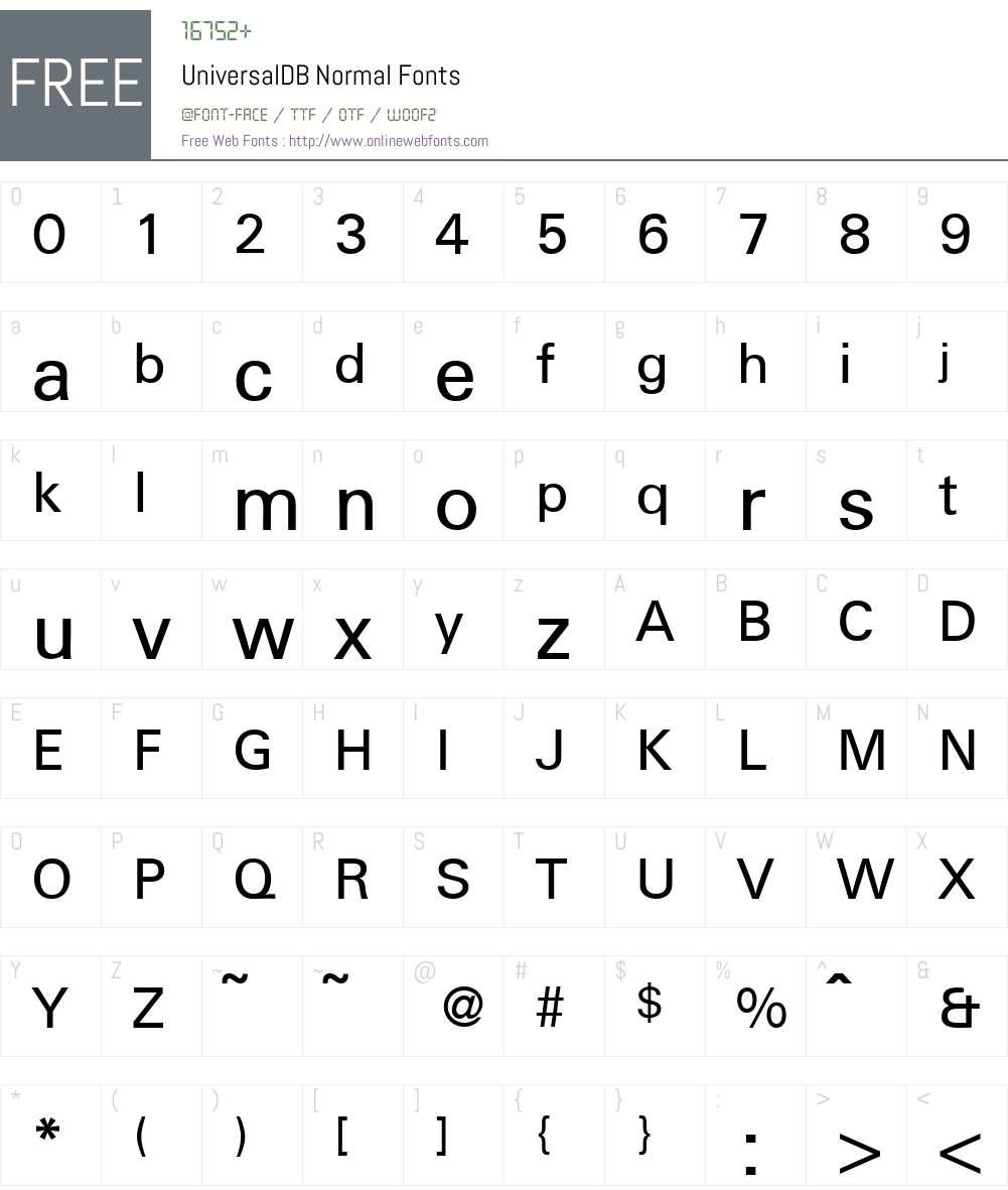 UniversalDB Font Screenshots