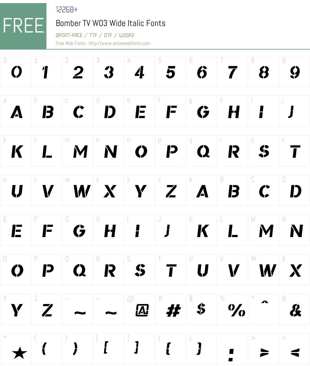 BomberTVW03-WideItalic Font Screenshots