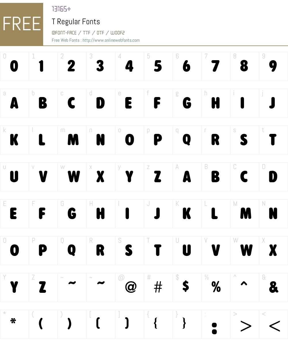 T Font Screenshots