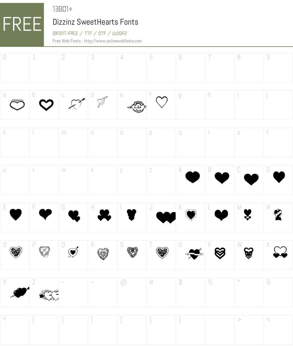 Dizzinz SweetHearts Font Screenshots