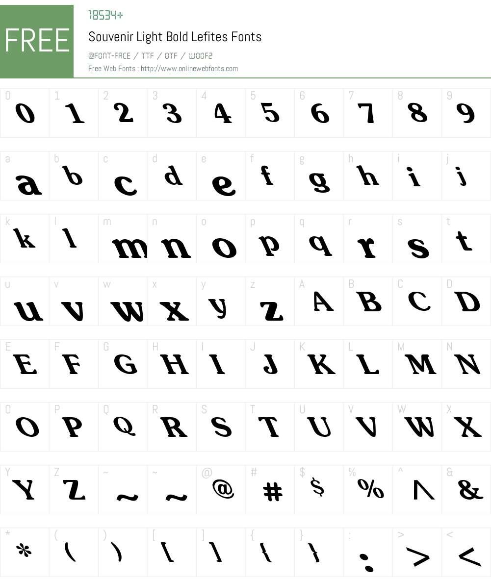 Souvenir-Light-Bold Lefites Font Screenshots
