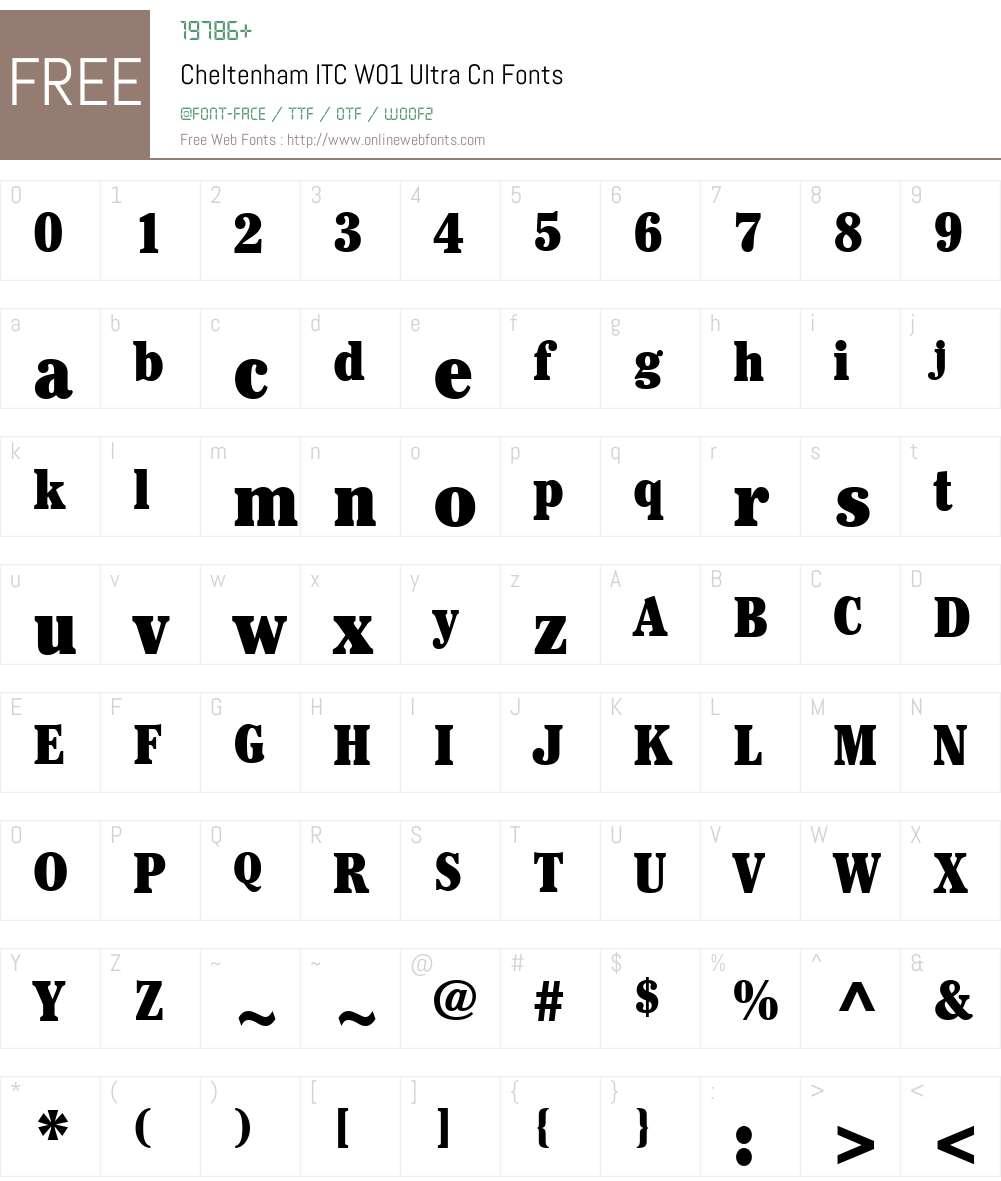 CheltenhamITCW01-UltraCn Font Screenshots