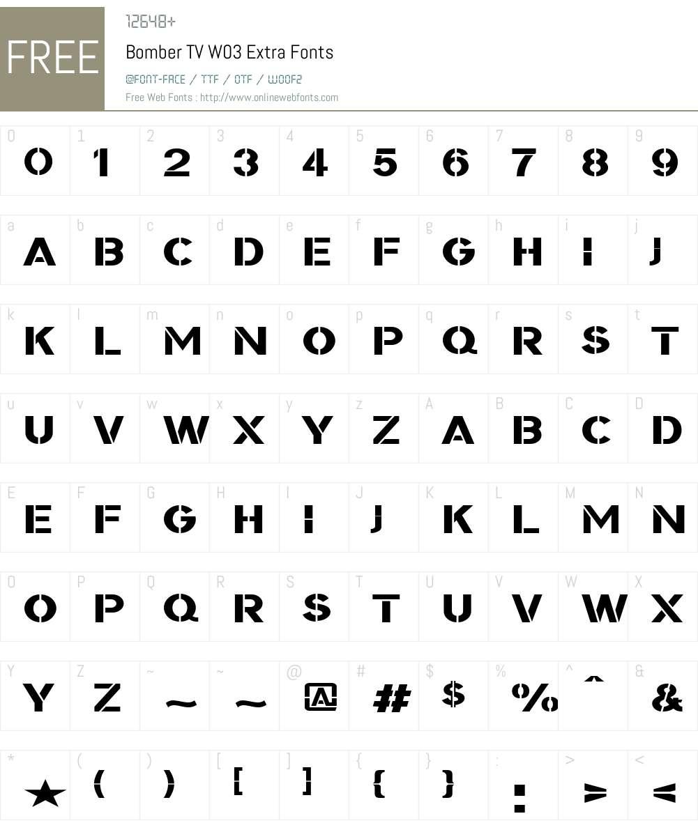 BomberTVW03-Extra Font Screenshots