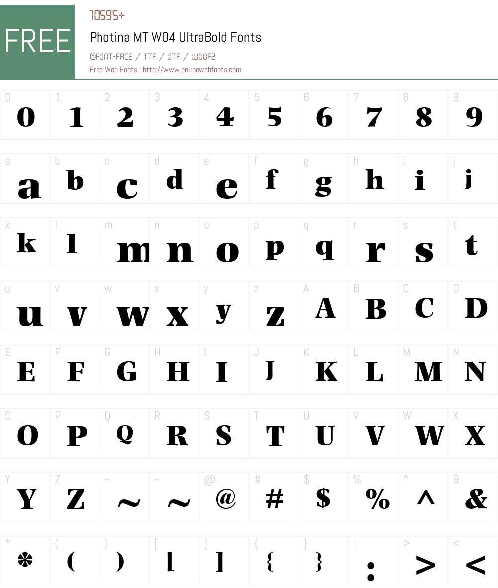 Photina Font Screenshots