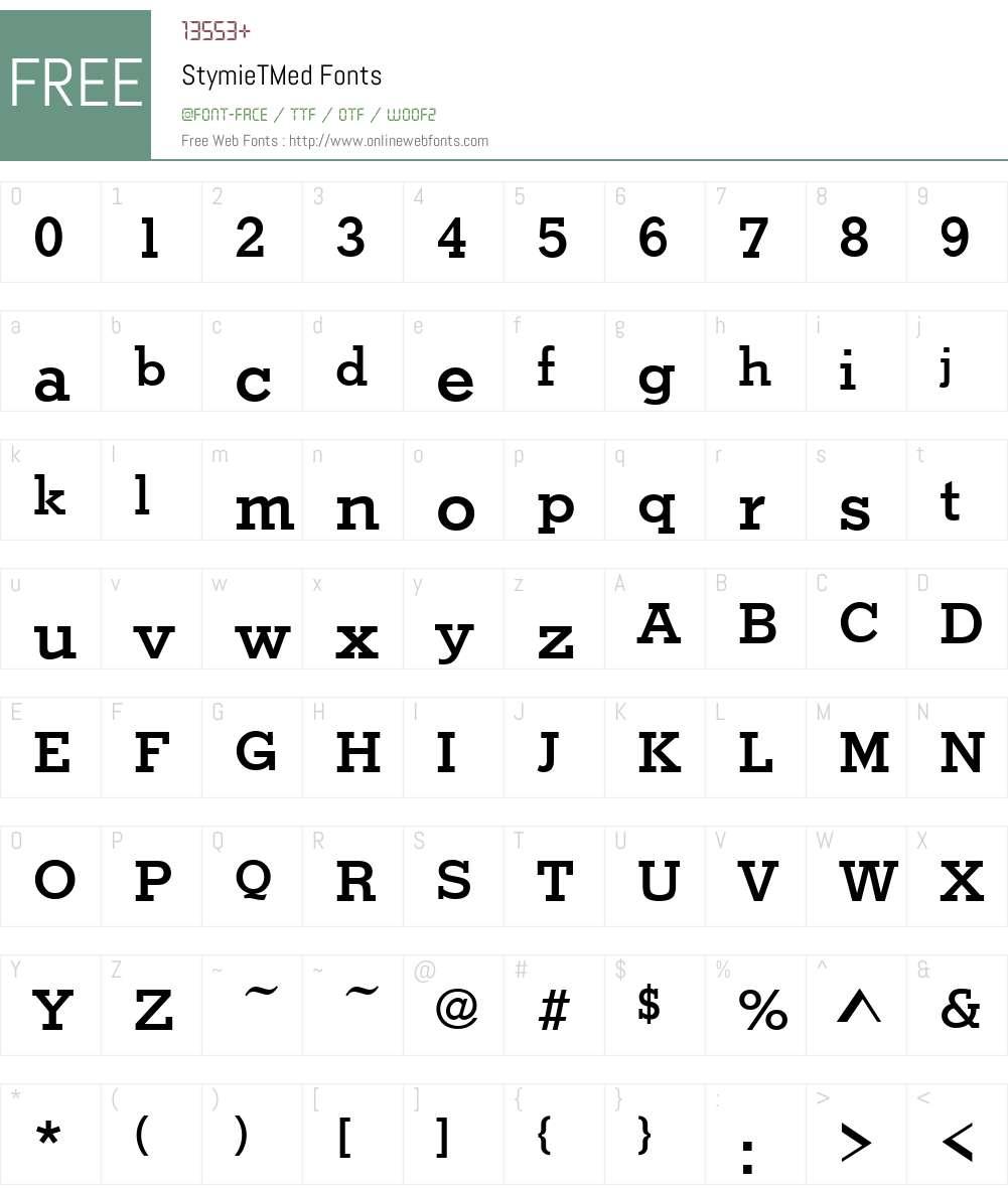 StymieTMed Font Screenshots