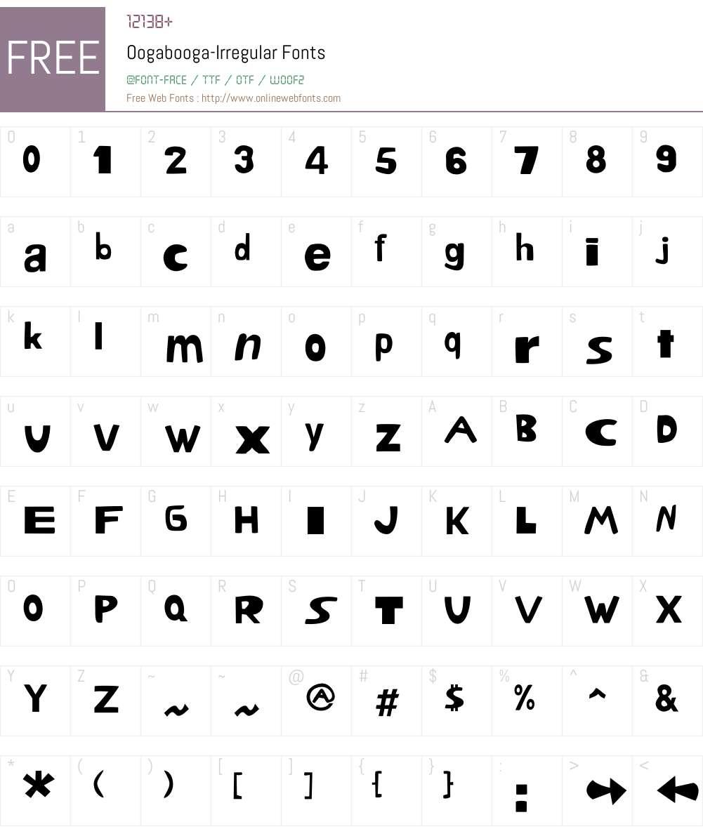 Oogabooga Font Screenshots
