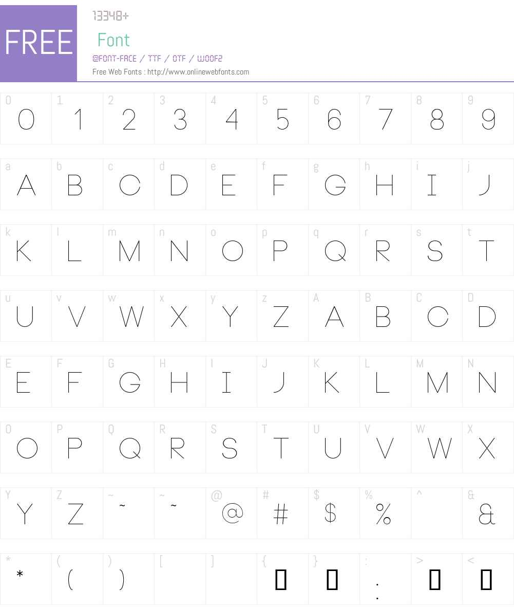 Neou Thin Font Screenshots