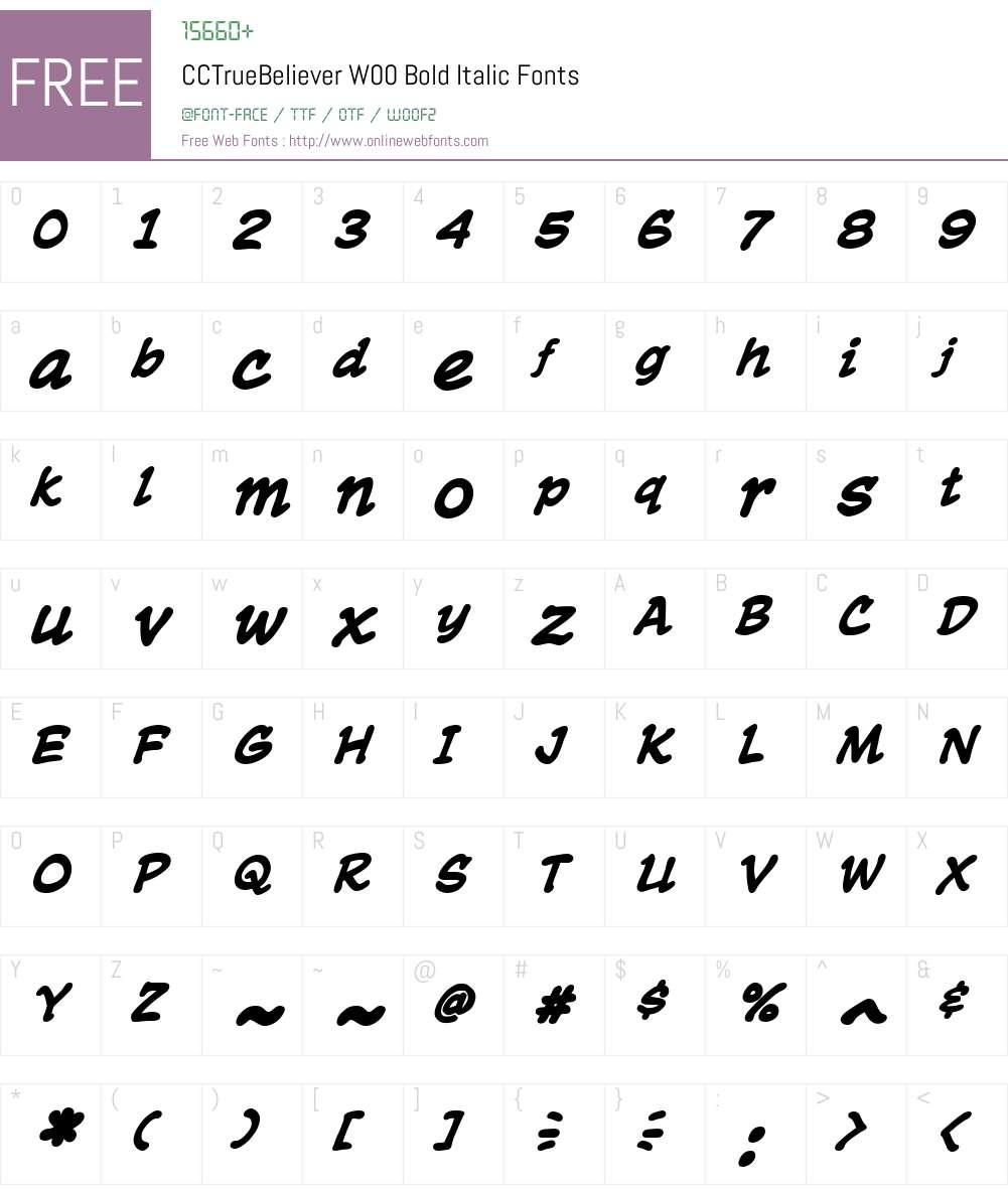 CCTrueBelieverW00-BoldIt Font Screenshots