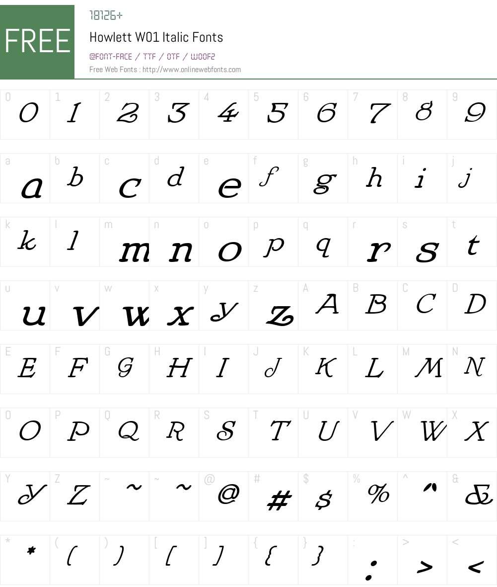 HowlettW01-Italic Font Screenshots