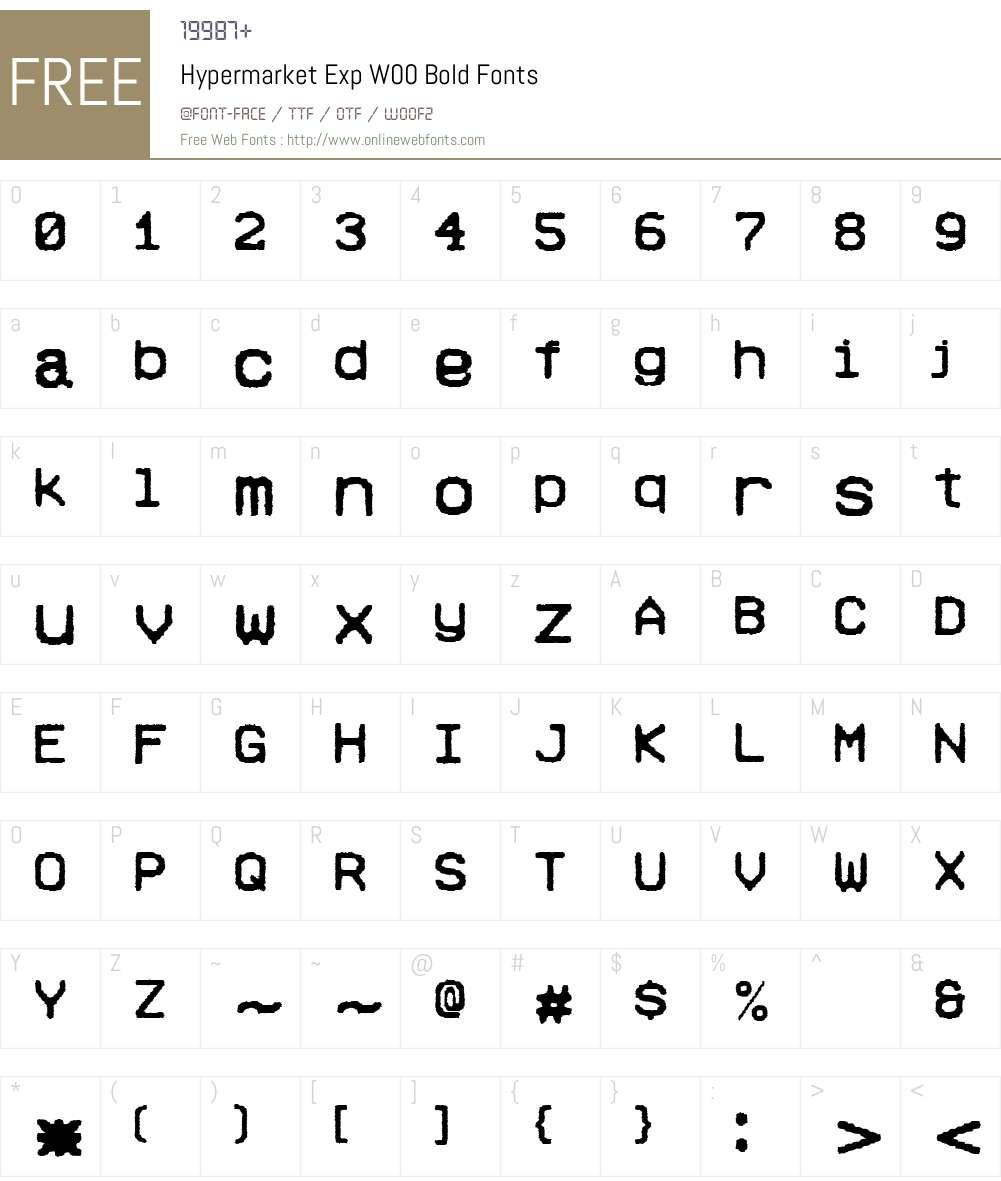 HypermarketExpW00-Bold Font Screenshots