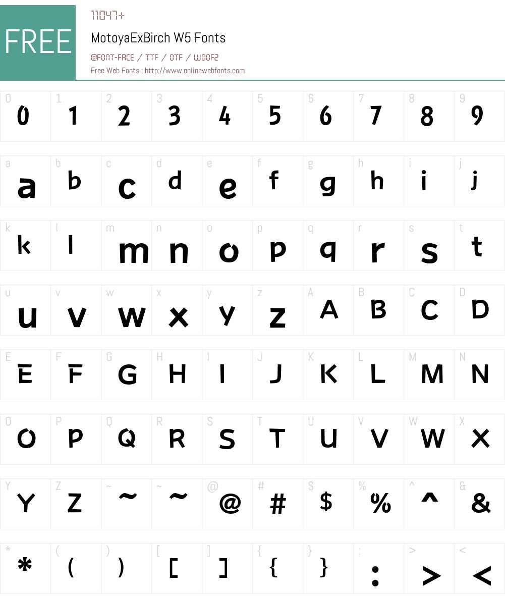 Motoya Birch Font Screenshots