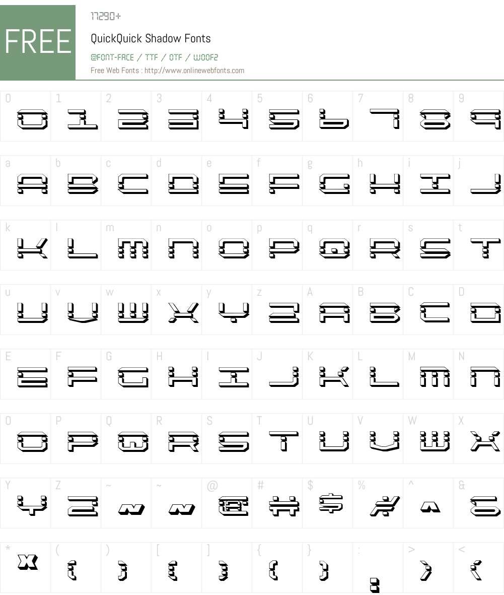 QuickQuick Shadow Font Screenshots
