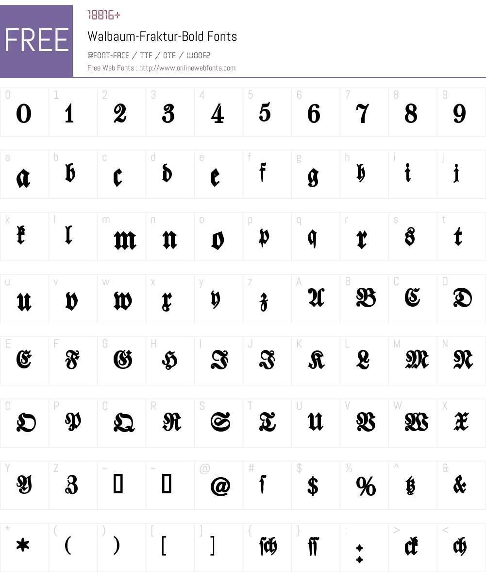 Walbaum Fraktur Font Screenshots