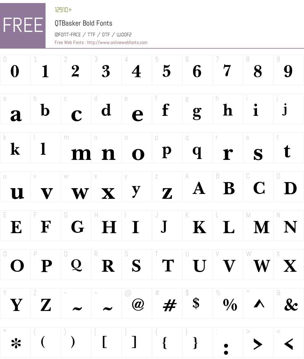 QTBasker Font Screenshots