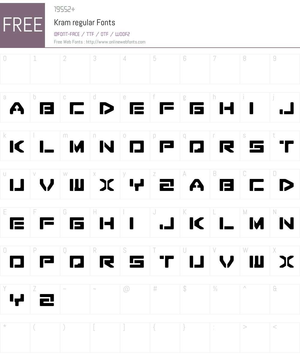 Kram espaciada Font Screenshots
