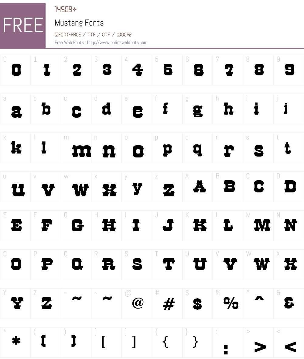 Mustang Font Screenshots