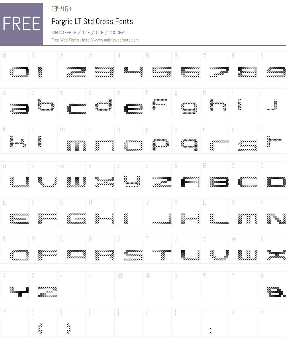 Pargrid LT Std Cross Font Screenshots