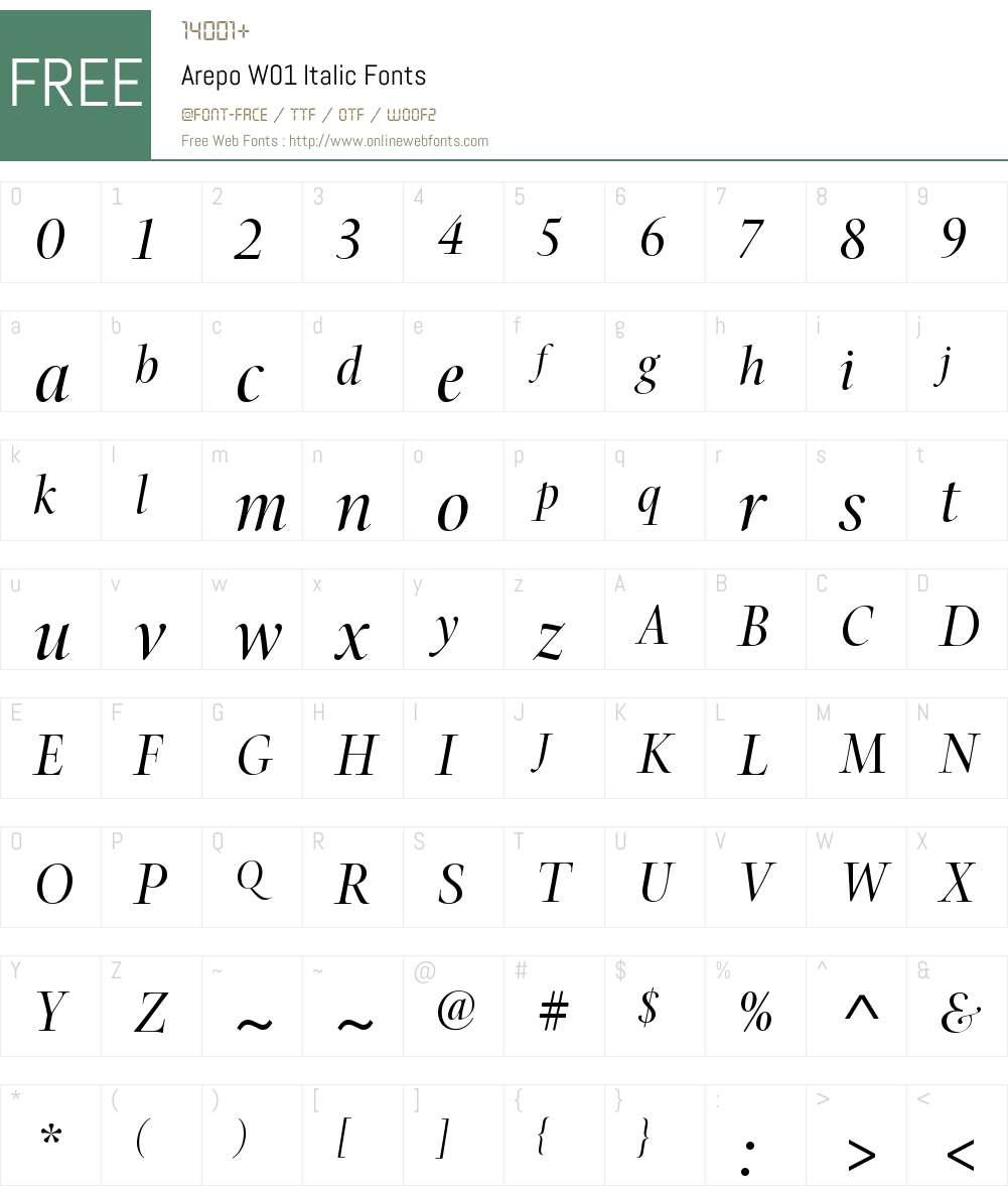 ArepoW01-Italic Font Screenshots