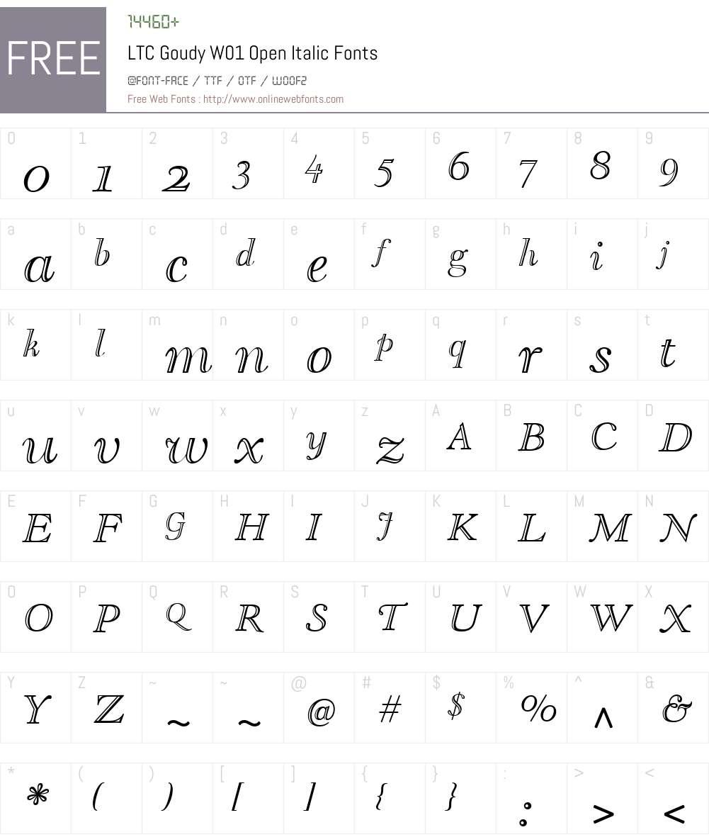 LTCGoudyW01-OpenItalic Font Screenshots