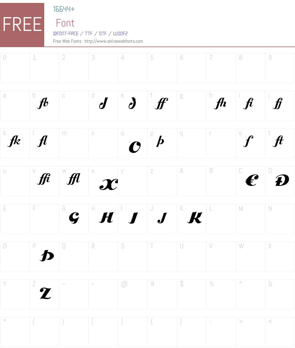 BoleroExtrasW90-Regular Font Screenshots
