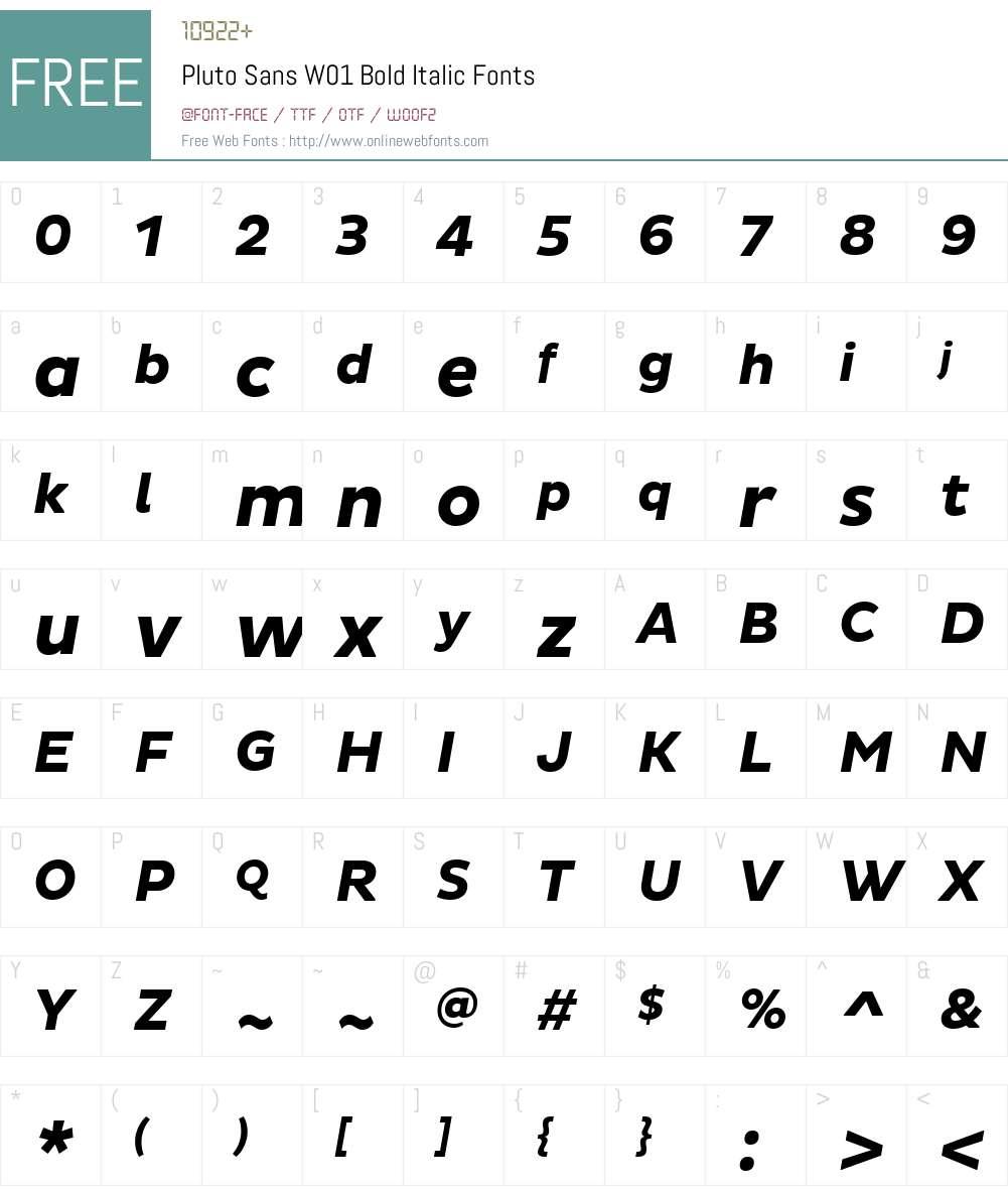 PlutoSansW01-BoldItalic Font Screenshots
