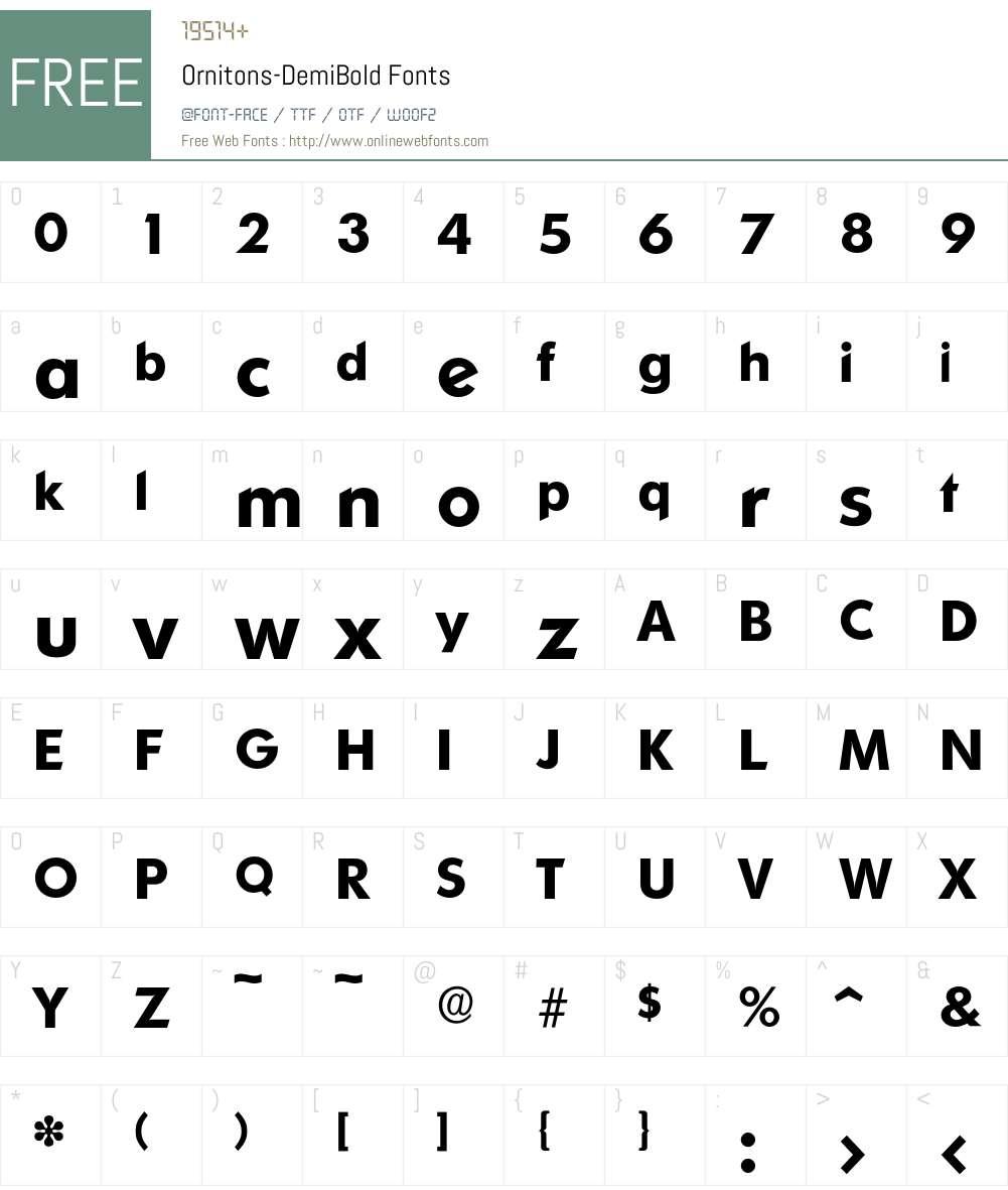 Ornitons-DemiBold Font Screenshots