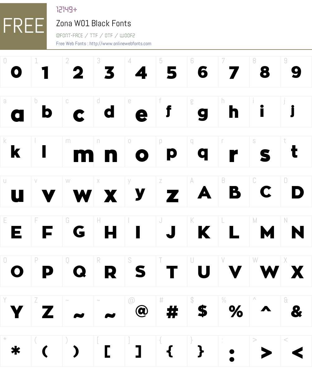 ZonaW01-Black Font Screenshots