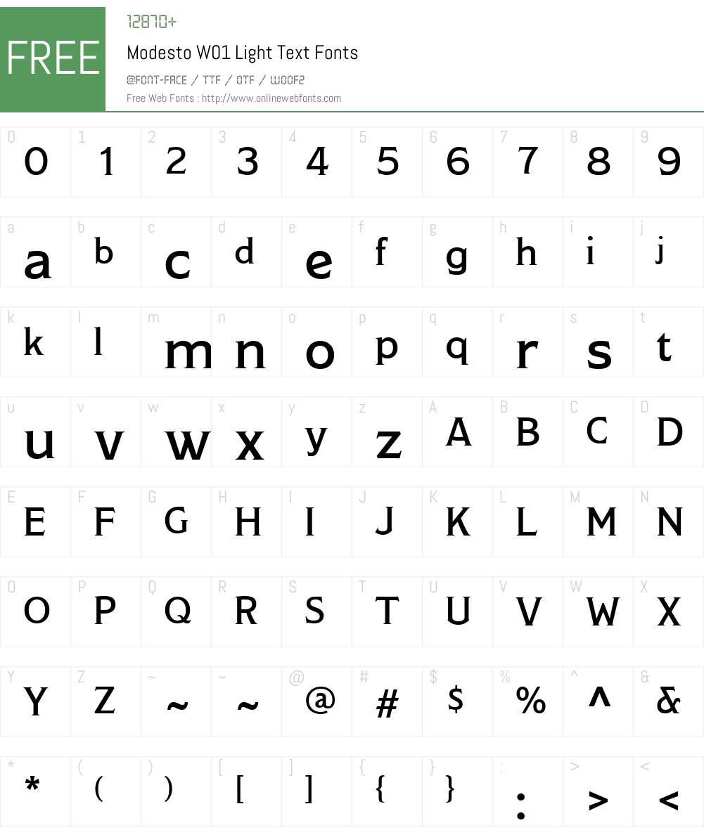 ModestoW01-LightText Font Screenshots