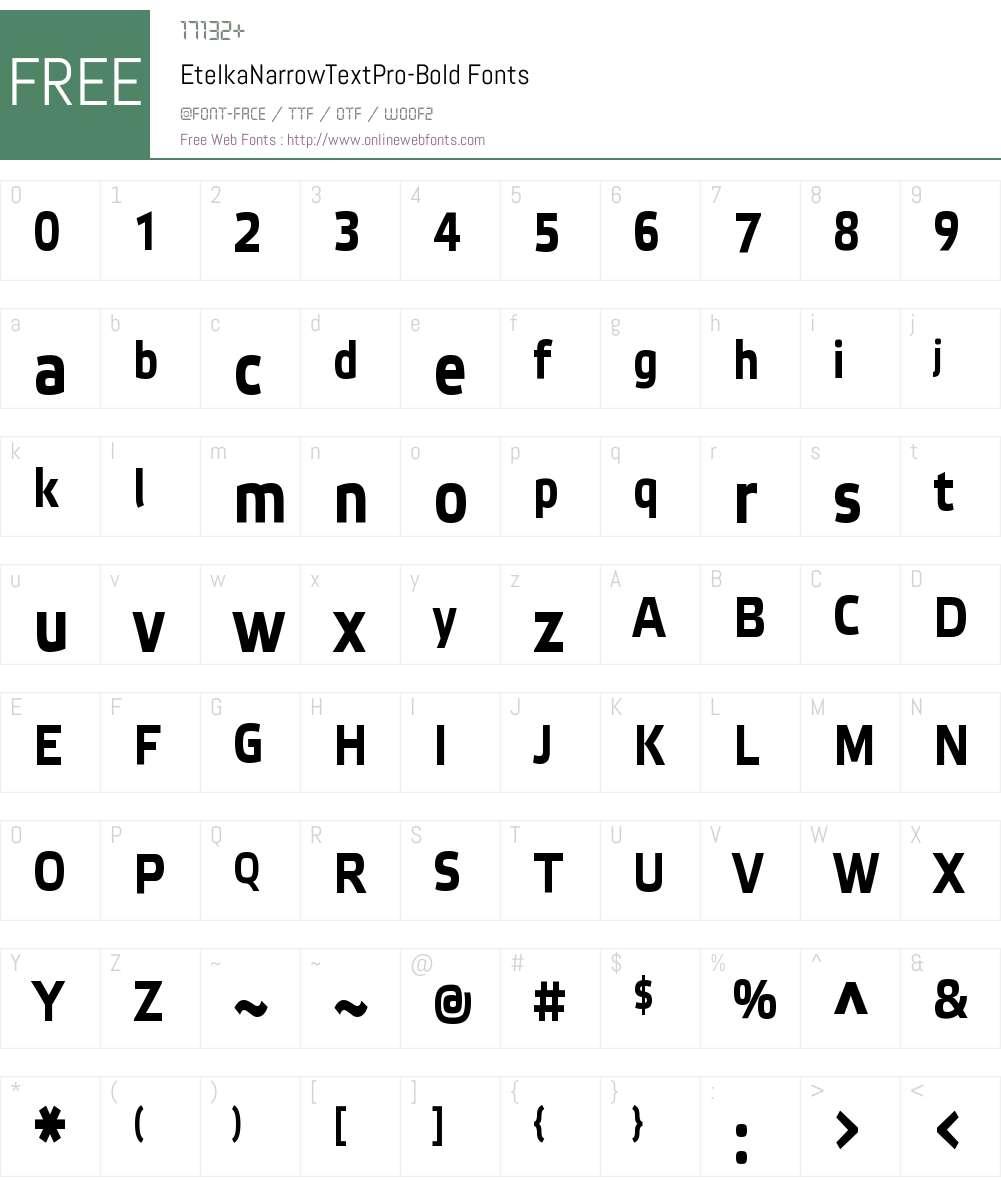 Etelka Narrow Text Pro Font Screenshots