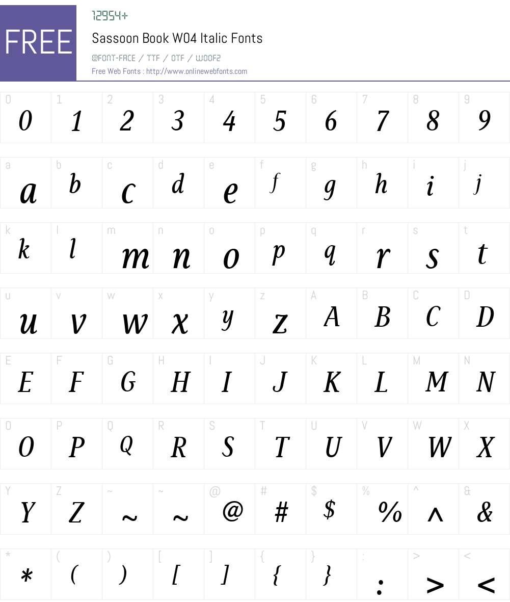 SassoonBookW04-Italic Font Screenshots