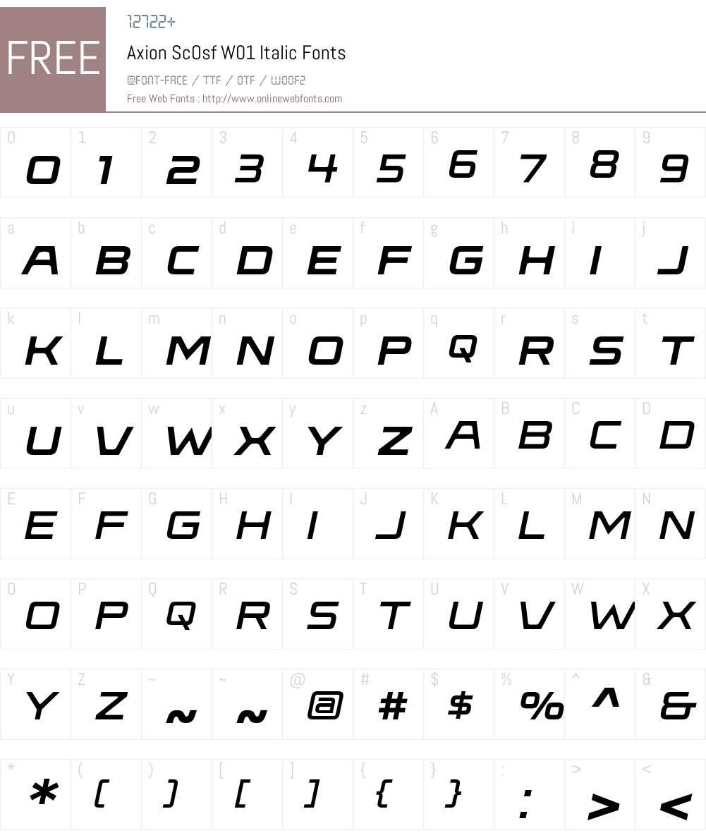 AxionScOsfW01-Italic Font Screenshots