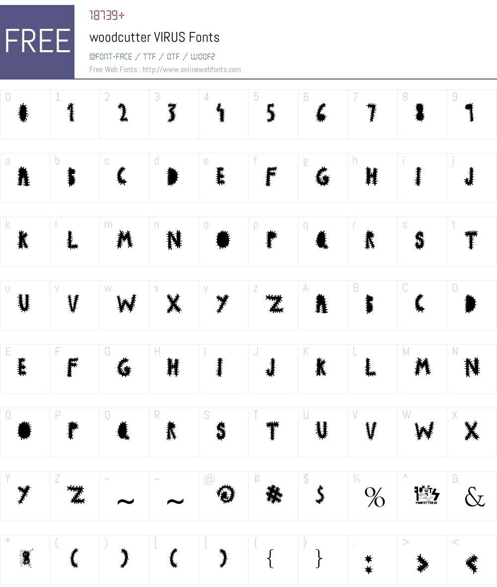 woodcutter VIRUS Font Screenshots