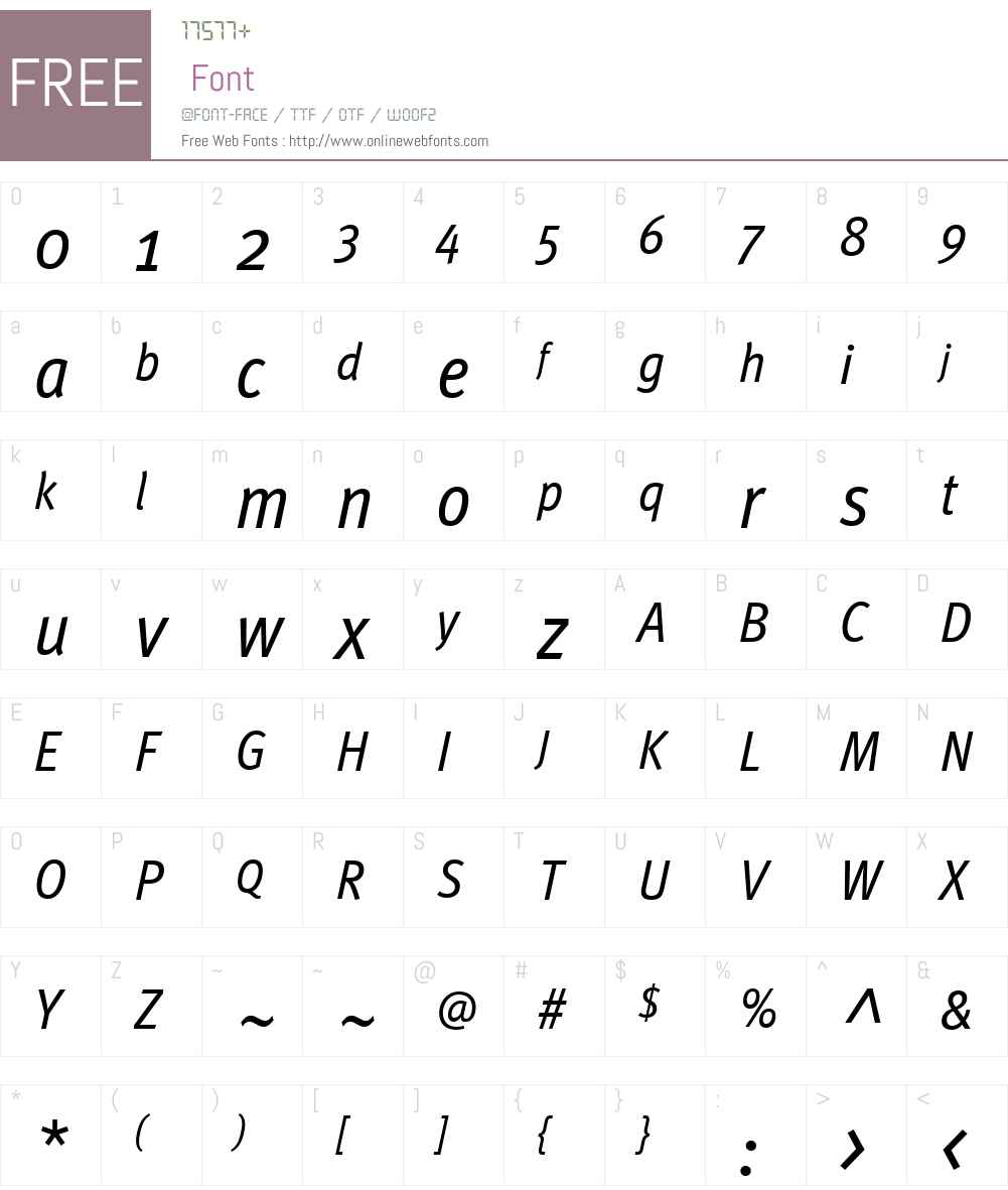 MetaWebW01-CondBookItalic Font Screenshots