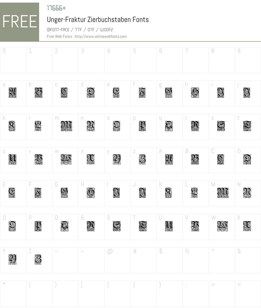 Unger-Fraktur Zierbuchstaben Font Screenshots