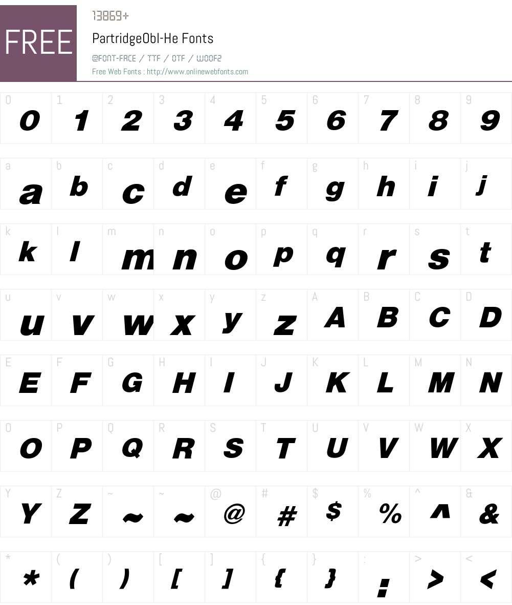 PartridgeObl-He Font Screenshots