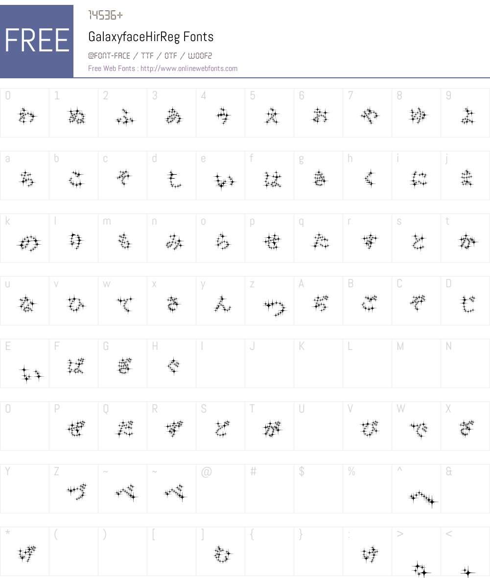 GalaxyfaceHirReg Font Screenshots