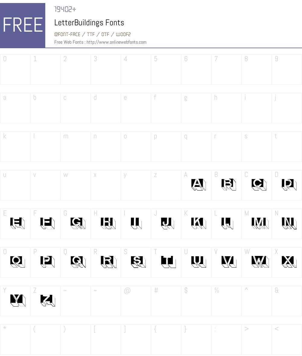 LetterBuildings Font Screenshots