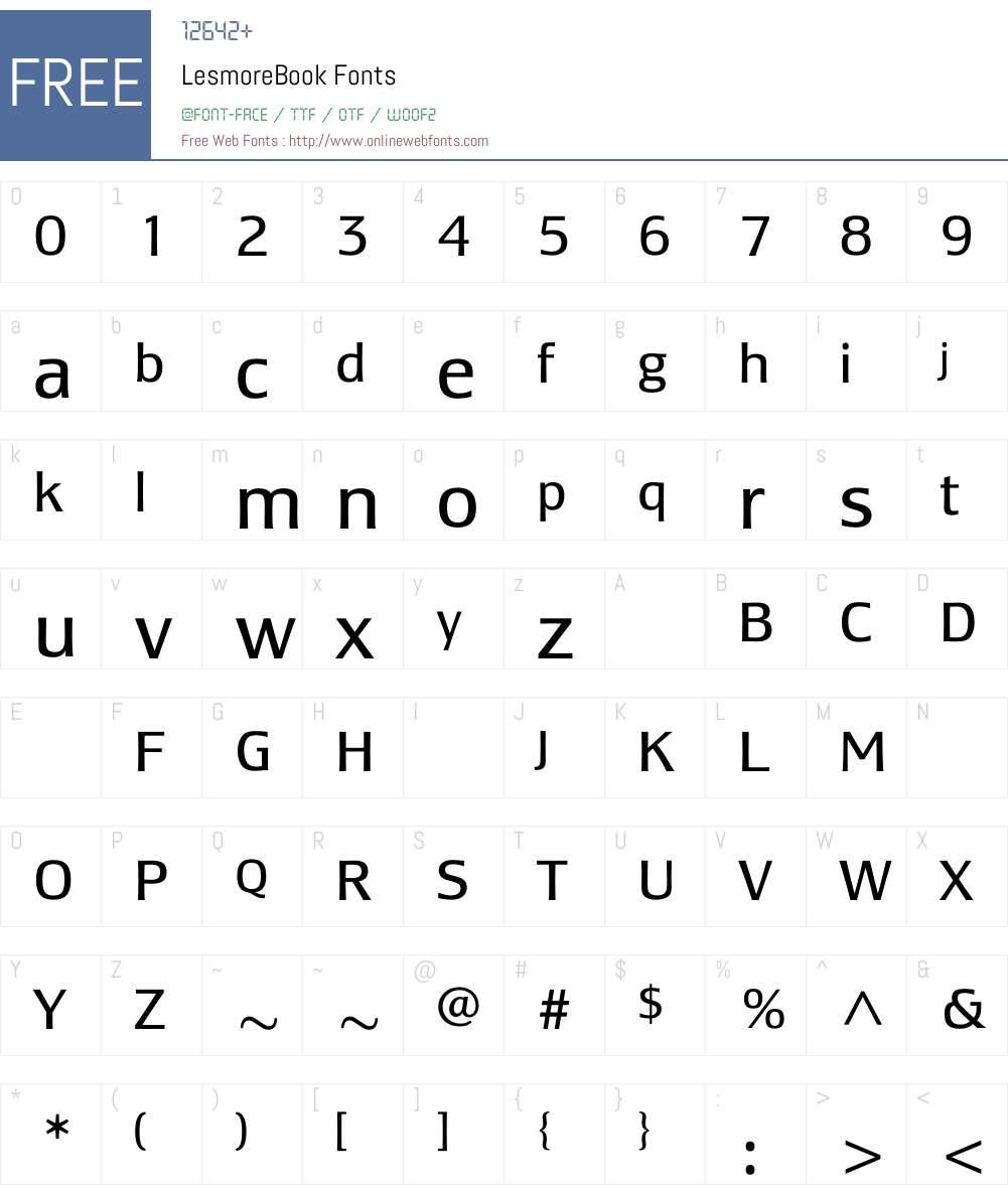 LesmoreBook Font Screenshots