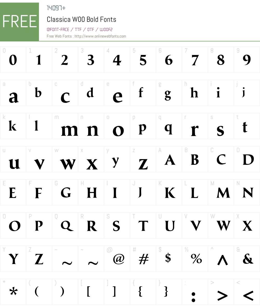 ClassicaW00-Bold Font Screenshots
