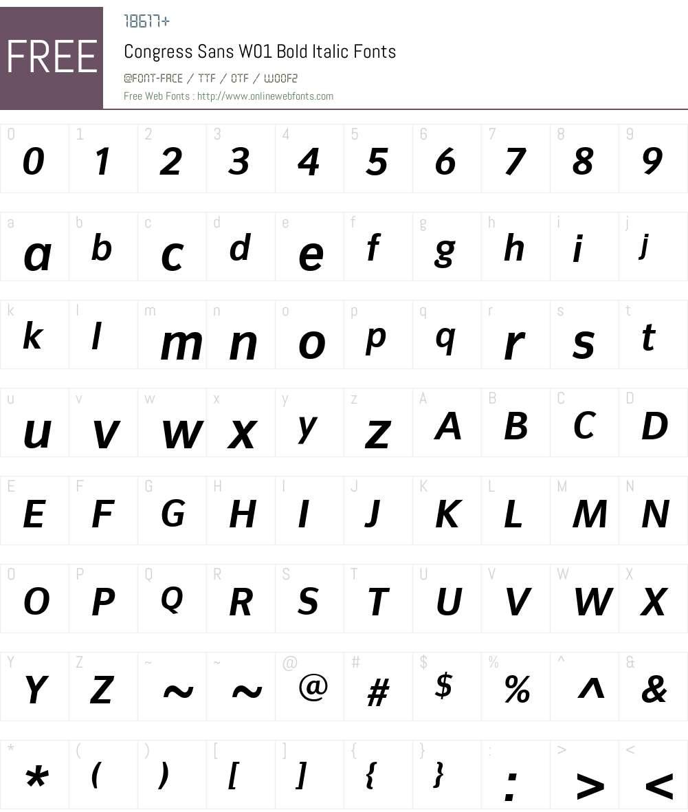 CongressSansW01-BoldItalic Font Screenshots