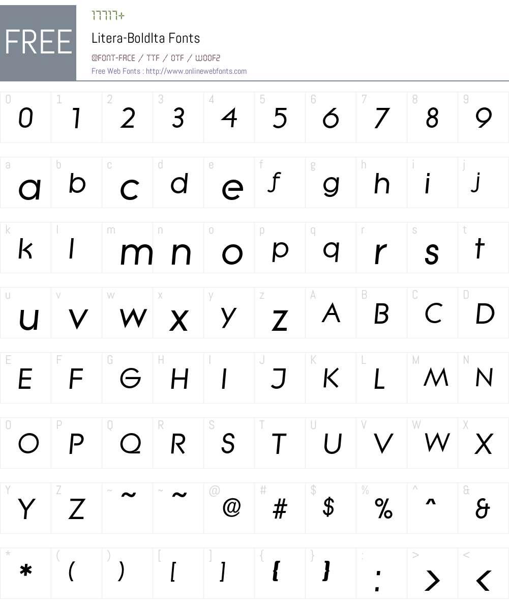 Litera-BoldIta Font Screenshots