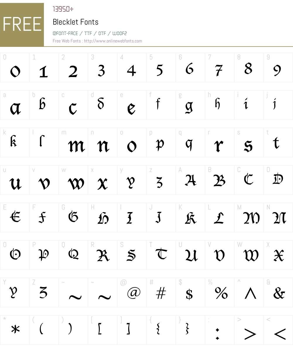 Blecklet Font Screenshots