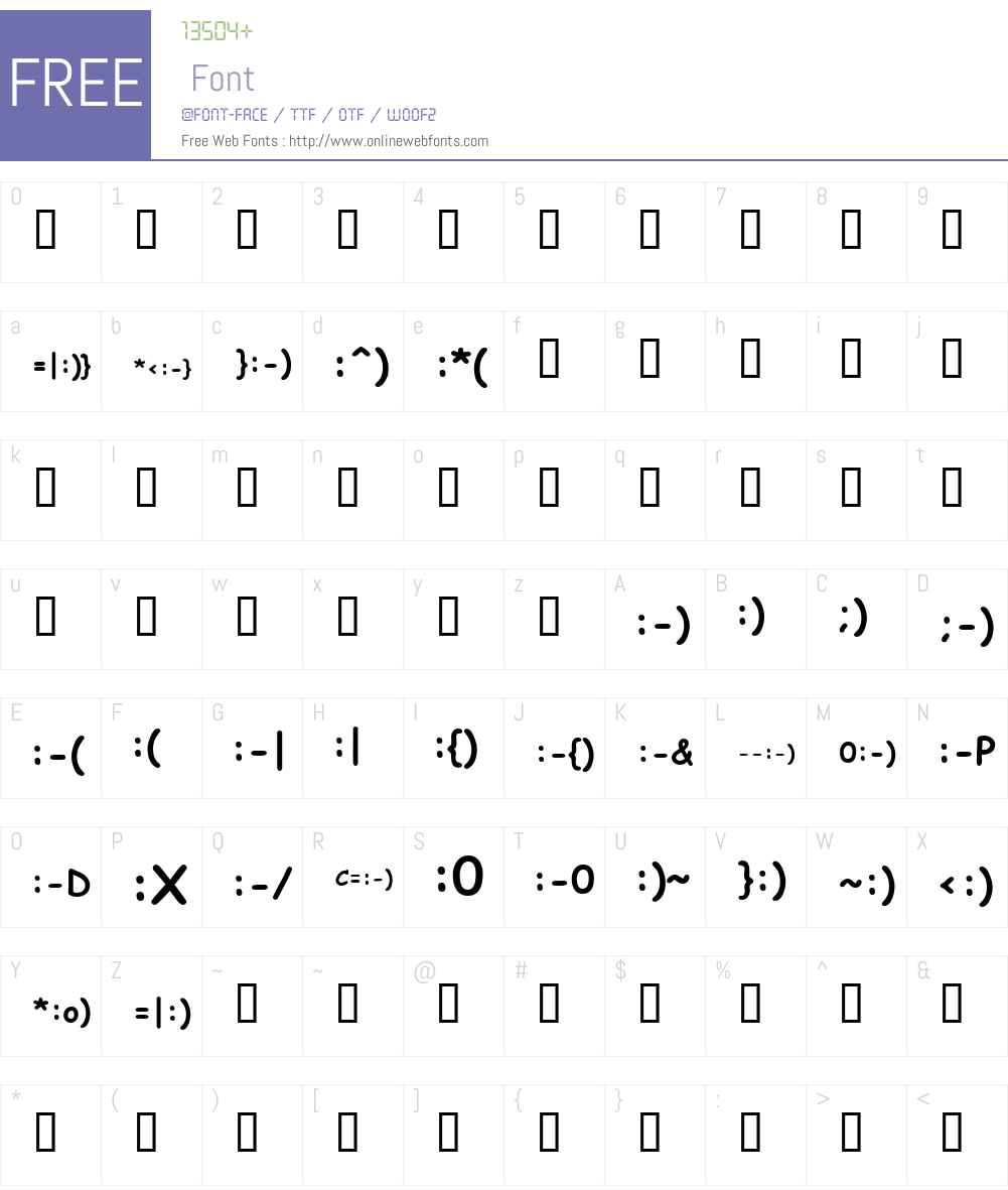KR Deb's Emoticons Font Screenshots