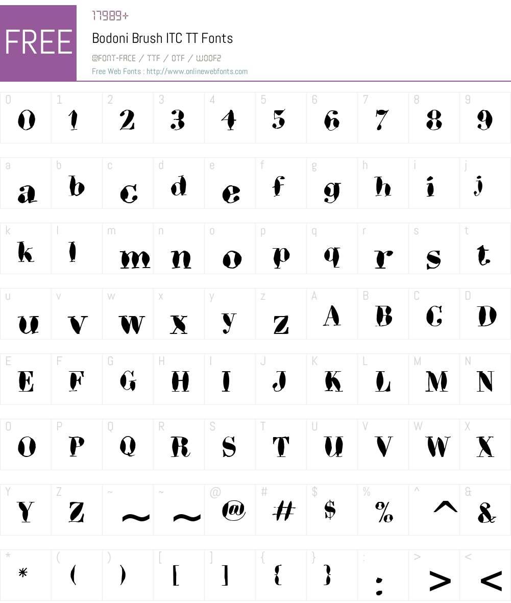 Bodoni Brush ITC TT Font Screenshots