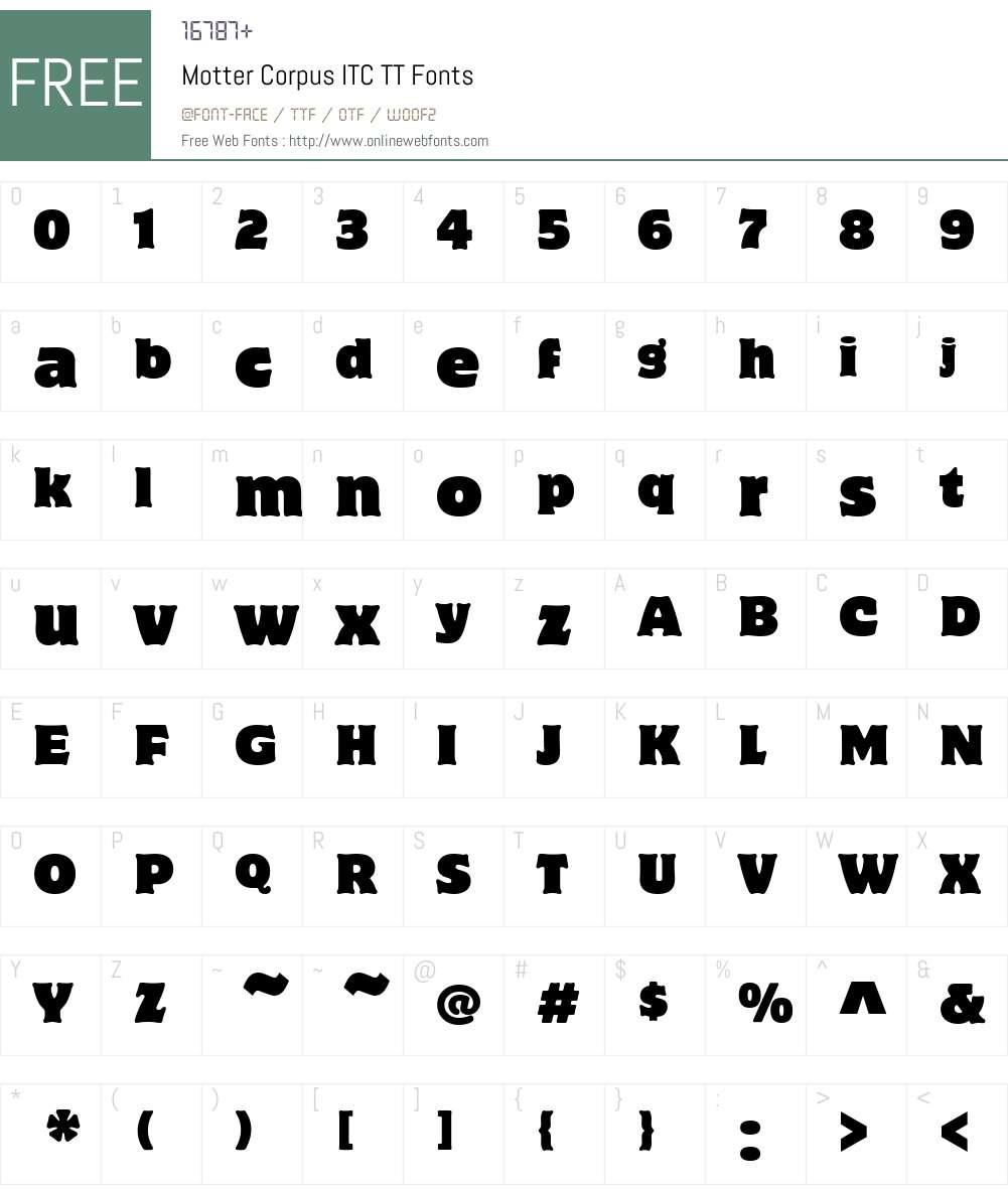 Motter Corpus ITC TT Font Screenshots