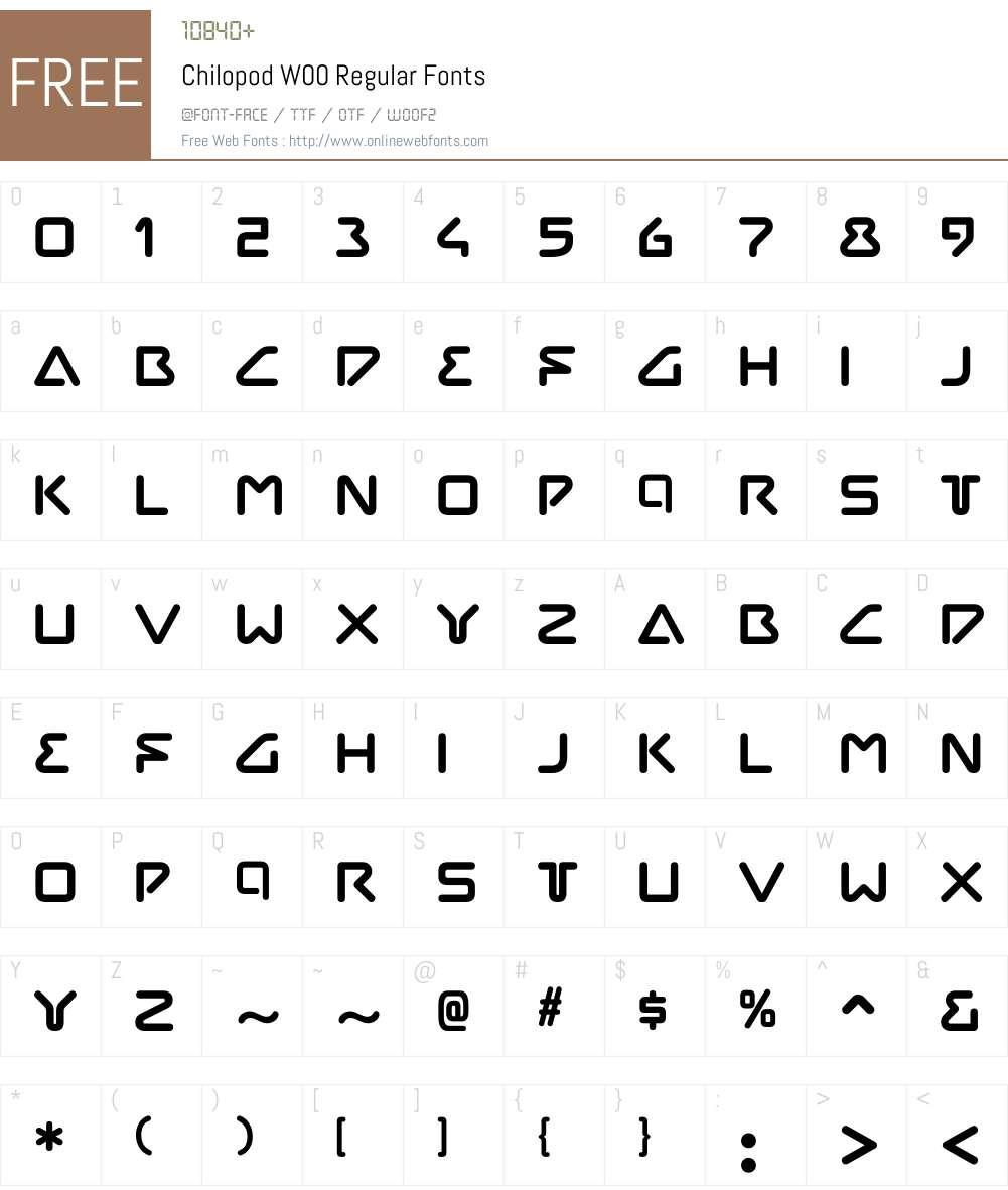 ChilopodW00-Regular Font Screenshots